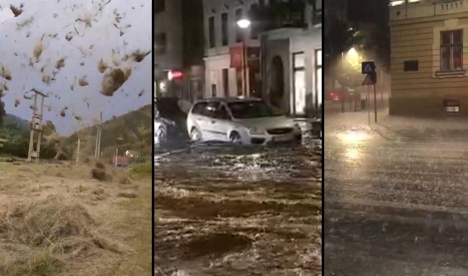 Grindină cât oul, rupere de nori, străzi inundate şi tornade în mai multe judeţe din ţară