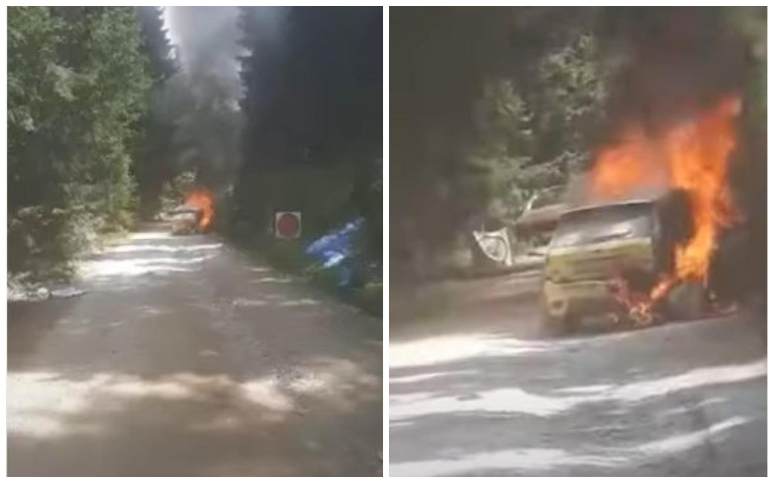 O mașină care participa la Raliul Sibiului a luat foc. Echipajul s-a salvat din mașina cuprinsă de flăcări