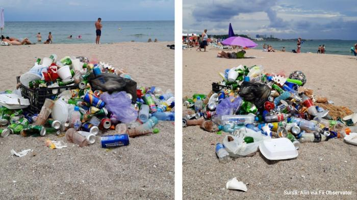 Mormane de gunoi pe plaja din Jupiter