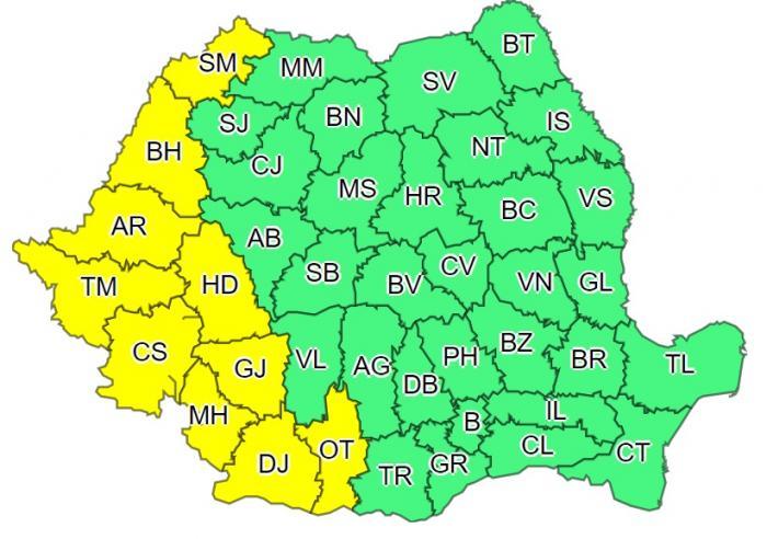 Val de aer tropical peste România. Cod galben de caniculă în 10 judeţe, azi şi mâine