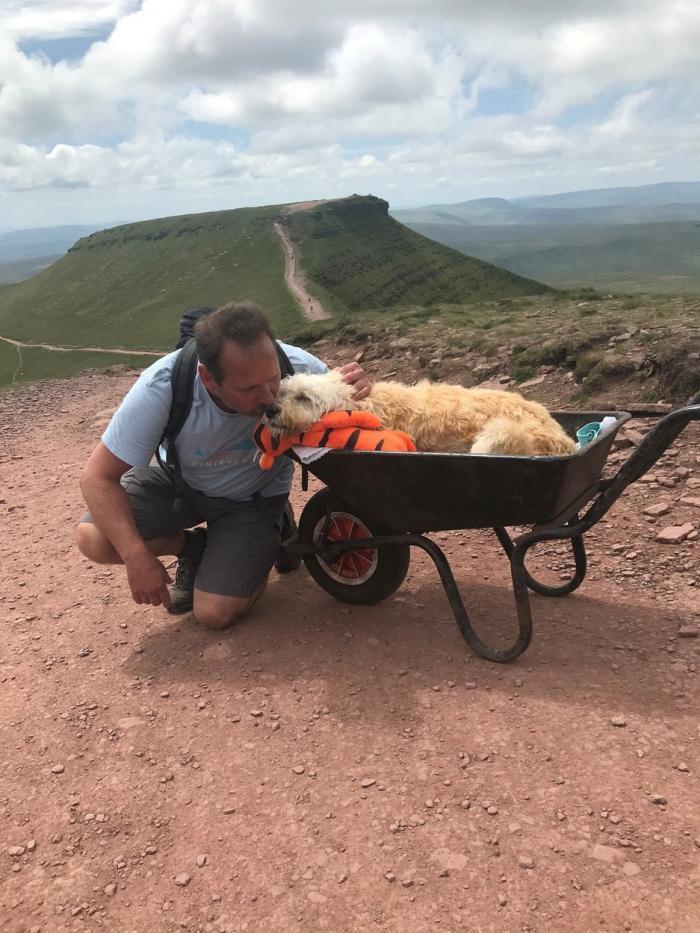 Un britanic şi-a dus câinele aflat pe moarte pe muntele său preferat, într-o roabă, pentru o ultimă plimbare: ''Dumnezeusă te binecuvânteze''