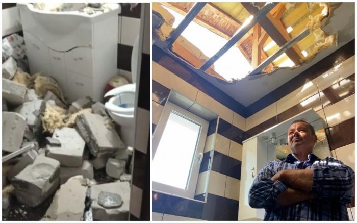 Un bărbat din Dej s-a trezit cu zidăria de la acoperiș în baie, după furtuna de Cod roșu de sâmbătă