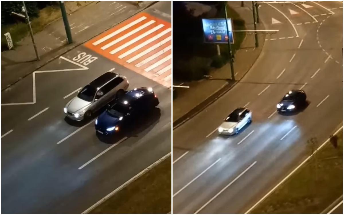 """Doi șoferi brașoveni, filmați în timp ce făceau """"liniuțe"""" și foloseau trecerea de pietoni ca linie de start. Poliția a deschis un dosar penal"""