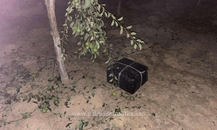 Țigări de contrabandă aduse cu drona din Ucraina şi ascunse într-o livadă din Satu Mare