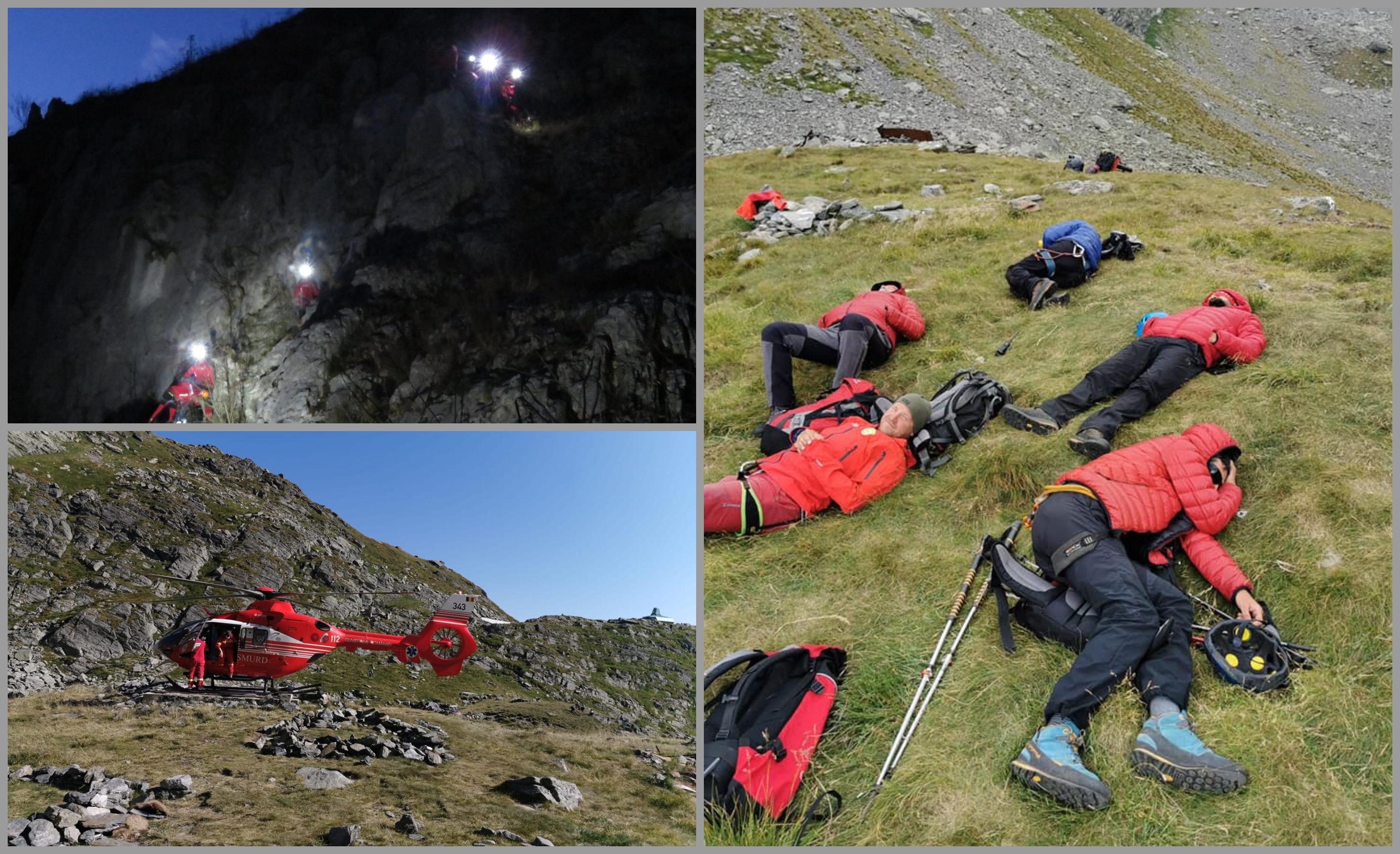 Salvamontişti odihnindu-se după o operaţiune de salvare finalizată după aproape 19 ore, în Munţii Făgăraş