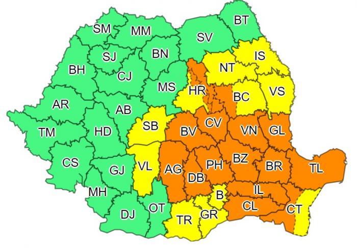 Alertă de furtuni, grindină și ploi torențiale în jumătate de țară. Coduri galben şi portocaliu de vreme severă în următoarele 24 de ore