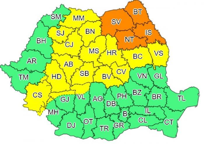 Coduri galben şi portocaliu de vijelii puternice în România. Va ploua în câteva ore cât pentru o lună întreagă