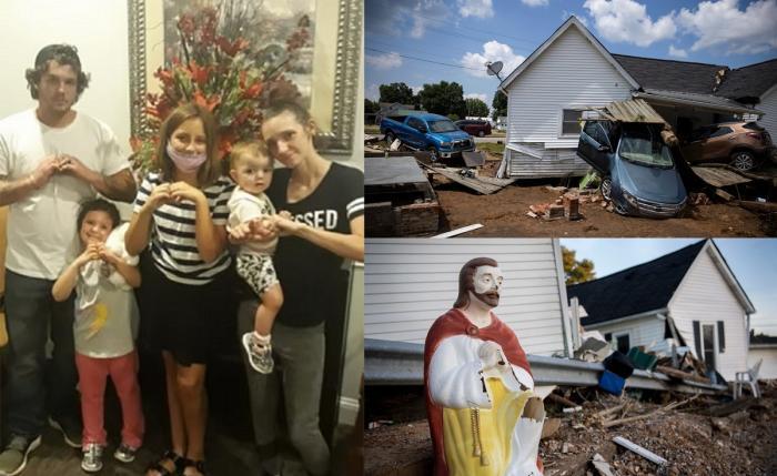 Familia Hall (stânga). Imagini cu inundaţiile devastatoare din Tennesse