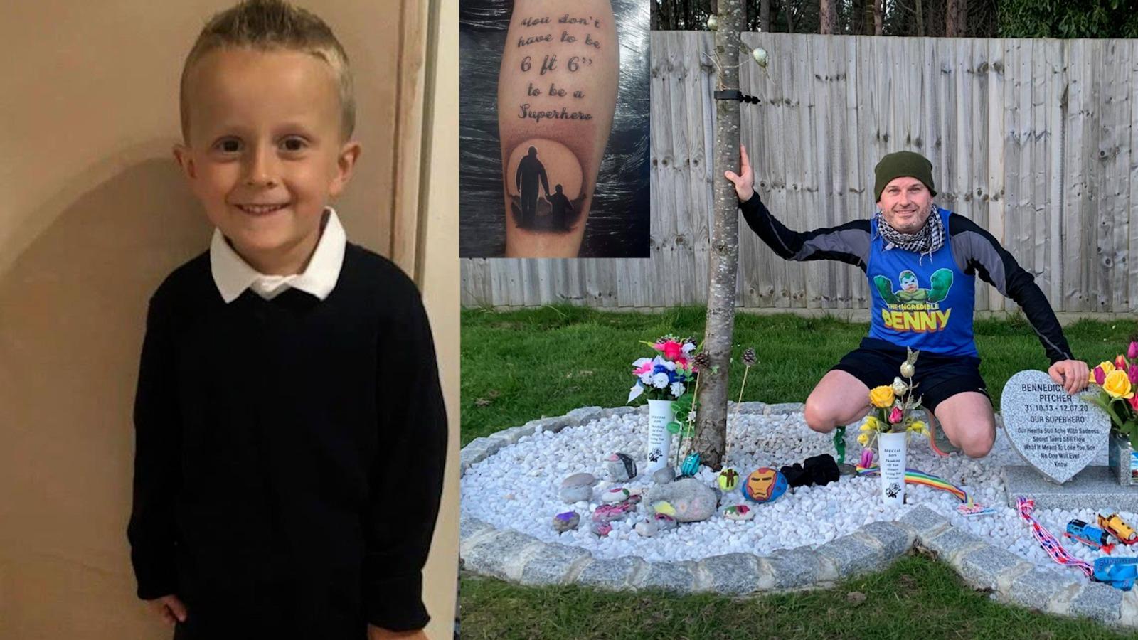 Un tată, care și-a pierdut fiul de 6 ani din cauza cancerului, a folosit cenușa pentru a-și tatua pe picior o imagine cu ei doi