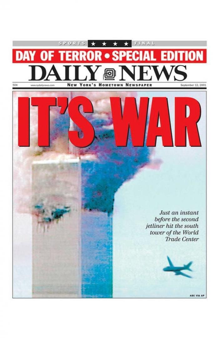 Prima pagină a ziarului, după atacurile teroriste de la 11 septembrie 2001