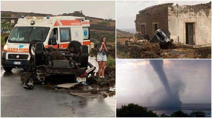 """Teroare pe o insulă din Sicilia, un vârtej uriaș pornit din mare a făcut ravagii pe uscat: """"A fost o scenă apocaliptică"""""""