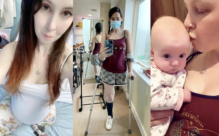 Kathleen Osborne, alături de fetiţa ei; fotografii din spital