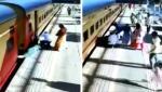 """Tragedie evitată în ultima clipă, după ce o femeie a alunecat sub trenul care părăsea o gară din India. Un trecător i-a fost """"înger păzitor"""""""