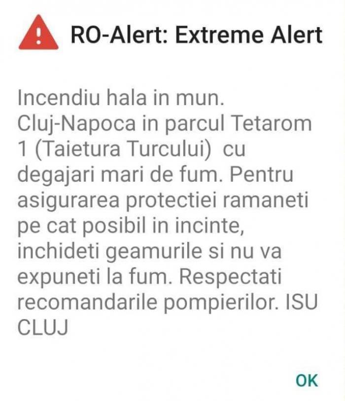 Incendiu uriaș în parcul industrial Tetarom din Cluj Napoca. A fost emisă o avertizare RO-Alert