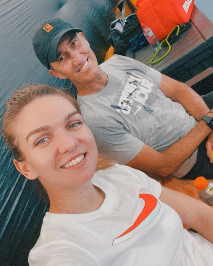 Simona Halep alături de fostul ei antrenor, Darren Cahill