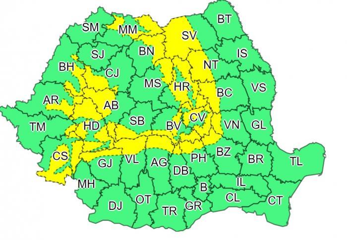 Alertă meteo de frig în toată țara. Cod galben de vânt puternic în zona de munte, cu rafale de peste 100 km/oră