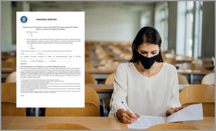 Noul chestionar pentru vaccinarea elevilor a fost aprobat şi va fi trimis în şcoli - DOCUMENT