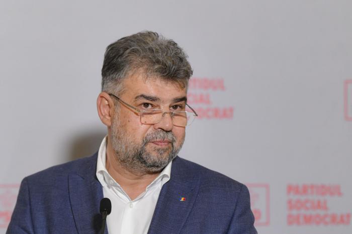 Marcel Ciolacu, preşedintele PSD, la o conferinţă de presă