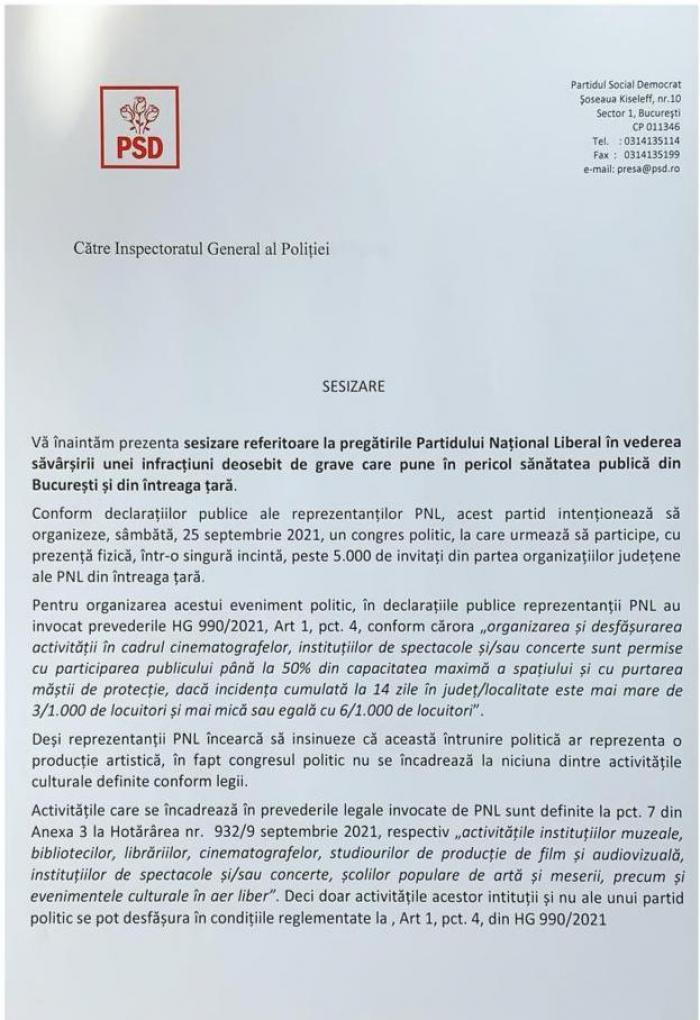 Sesizare PSD către autorităţi, faţă de Congresul PNL