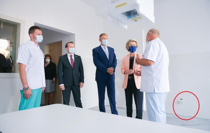O priză ieșită din perete la Spitalul Universitar vizitat de Ursula von der Leyen, Iohannis și Cîțu a declanșat o avalanșă de glume