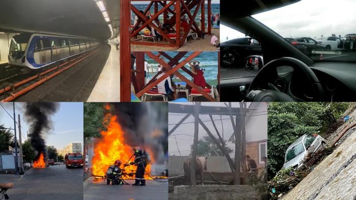 Topul Fii Observator. Carambol cu 7 maşini pe Autostrada Soarelui; Nouă maşini au fost distruse de un acoperiş căzut, altele au fost luate de ape