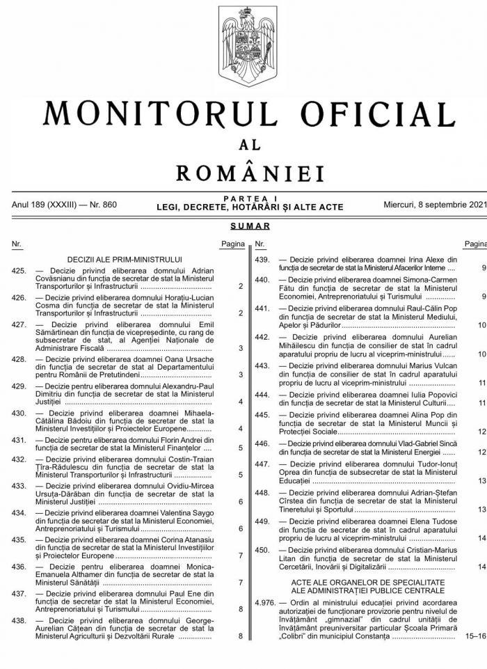 demiteri Monitorul Oficial