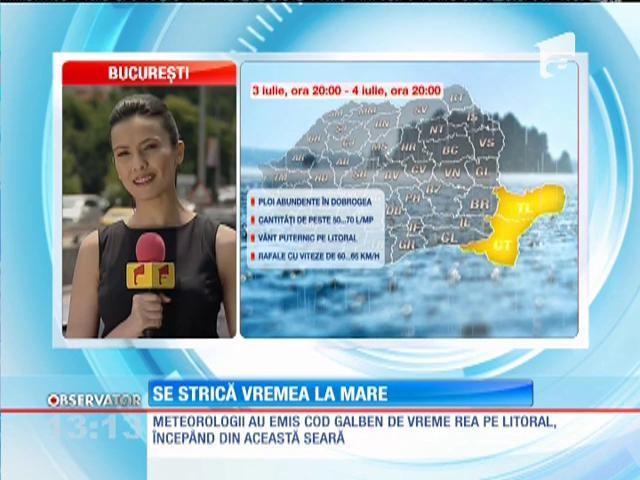 Cod galben de ploi abundente pentru Constanța și Tulcea