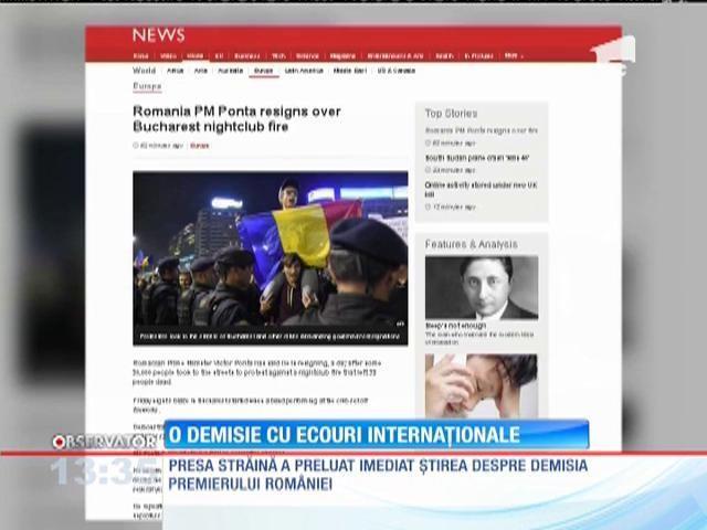 Demisia lui Victor Ponta, în presa internaţională