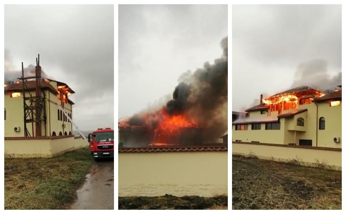 Intervenţie de urgenţă la 23 August, după ce o mănăstire a fost cuprinsă de flăcări