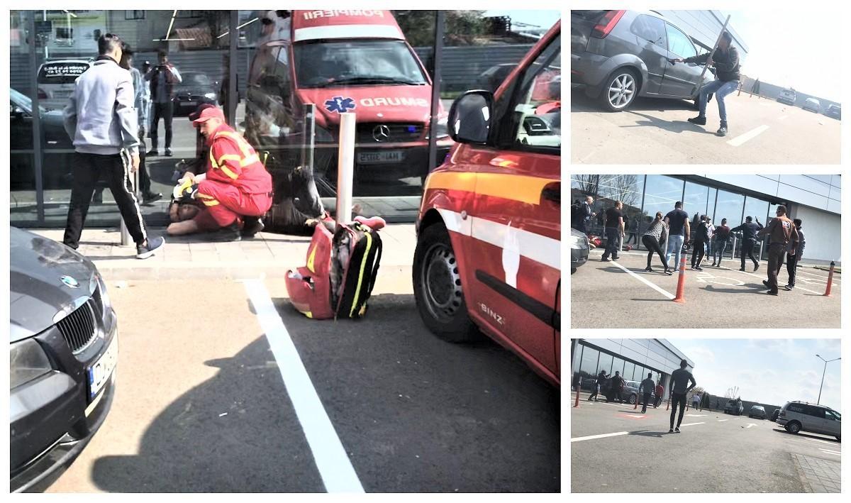 Bătaie sângeroasă cu săbii şi bâte între zeci de tineri, în parcarea unui magazin din Balş (Video)