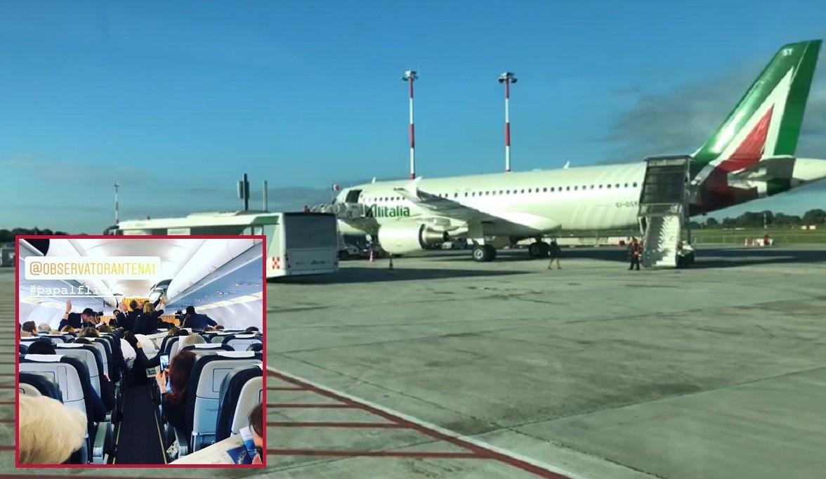 Primele imagini din avionul care îl aduce pe Papa Francisc în România