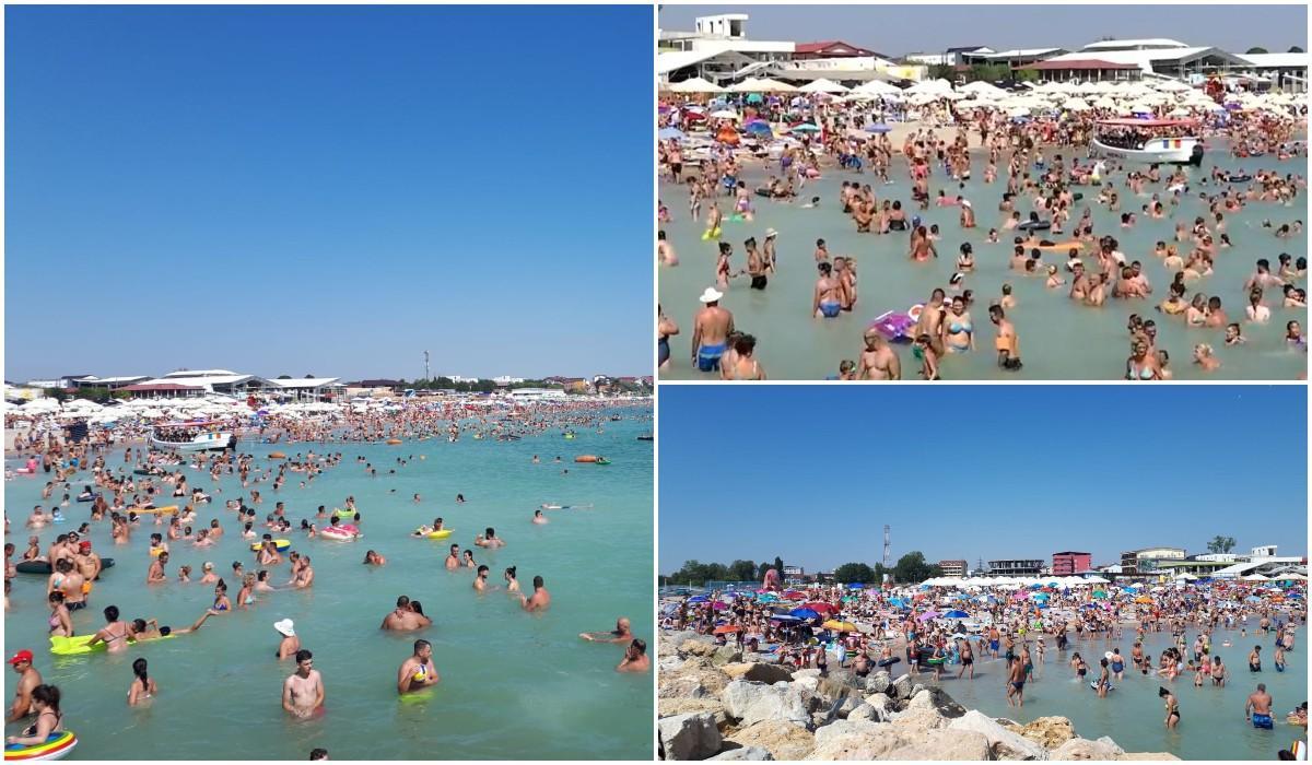 Mii de oameni se înghesuie pe plaja de la Costinești și în mare, fără nicio regulă de distanțare (video)