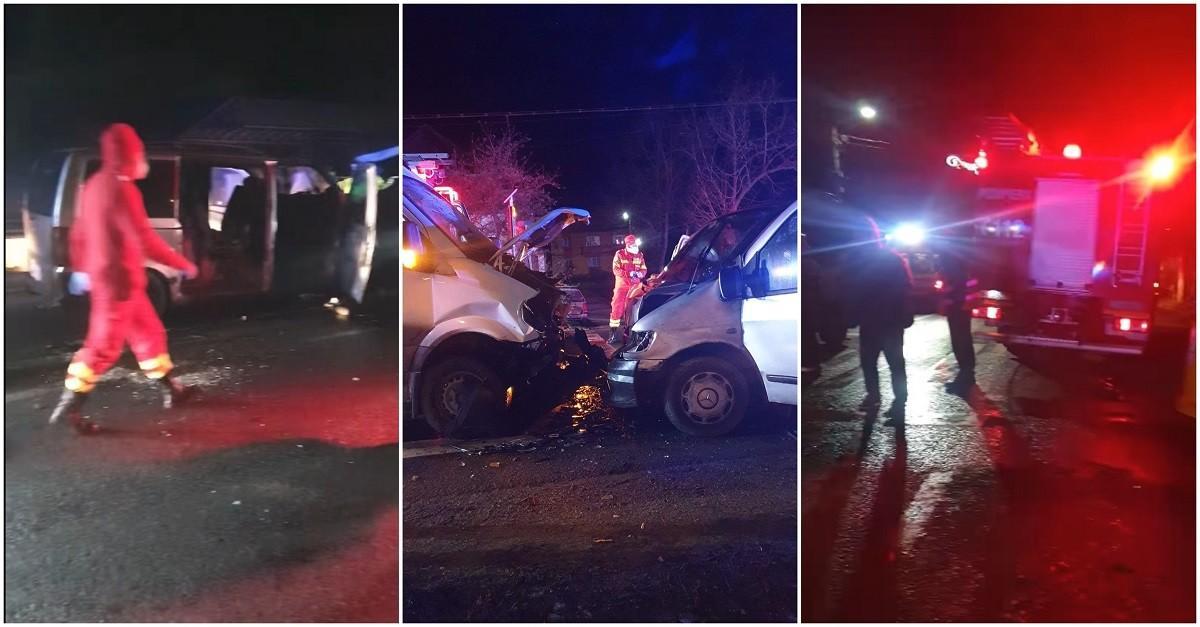 Accident cu 10 victime, între care 3 copii, după ce două microbuze s-au ciocnit la Valea Chioarului, în Maramureş