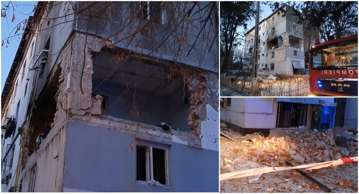 Explozie puternică într-un bloc din Găeşti. Zeci de oameni au fost evacuaţi, un bărbat a ajuns la spital
