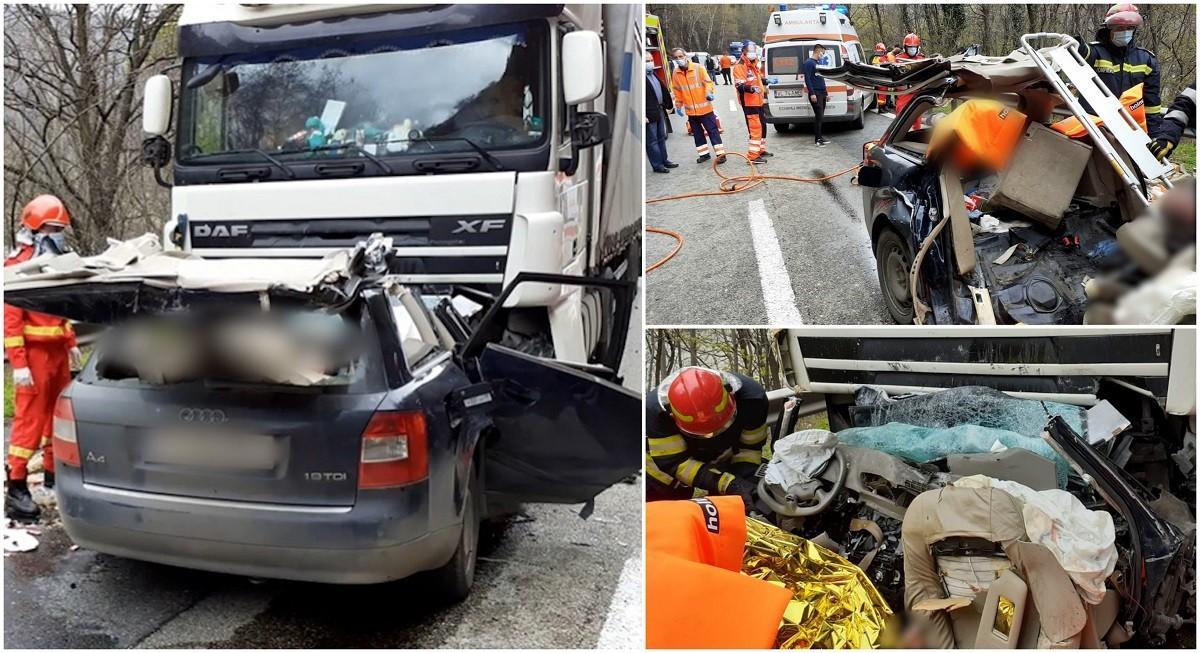 Imagini de coșmar pe Valea Oltului, doi morți după ce un Audi s-a înfipt într-un TIR pe contrasens, la Călimăneşti