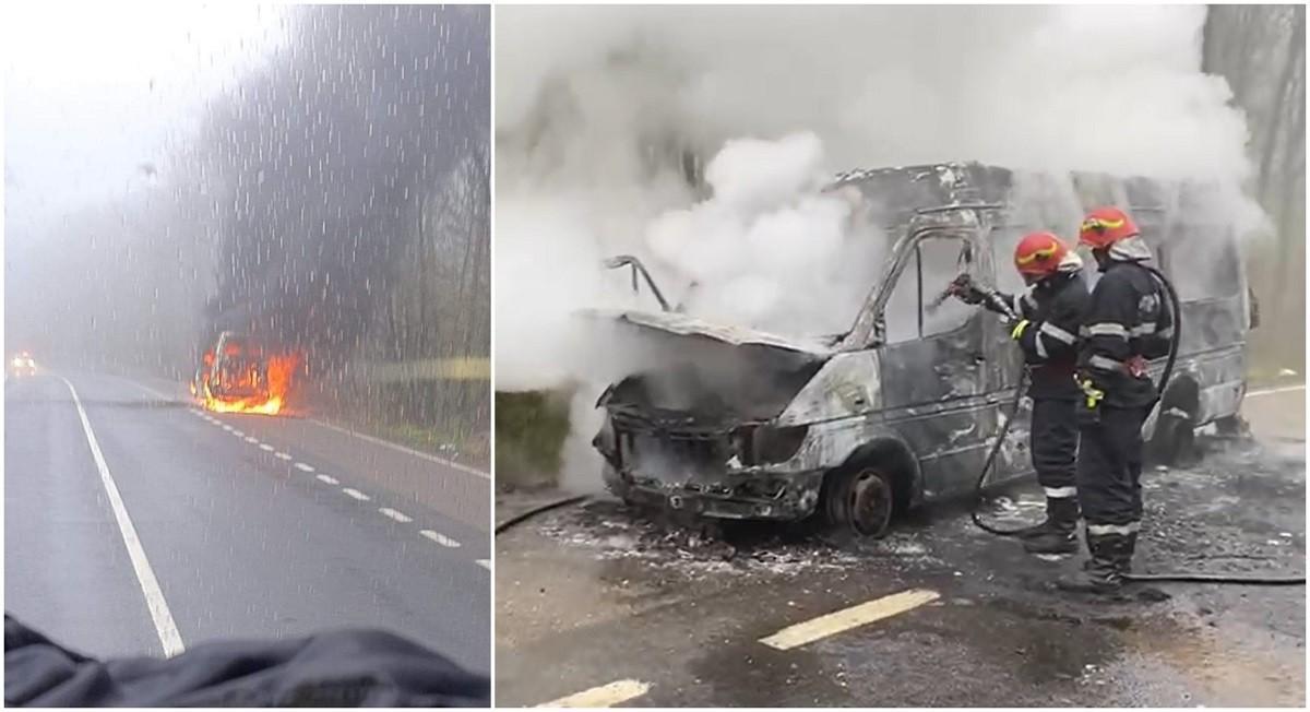 Un microbuz cu mai mulţi călători la bord a luat foc în mers, pe un drum din Iași