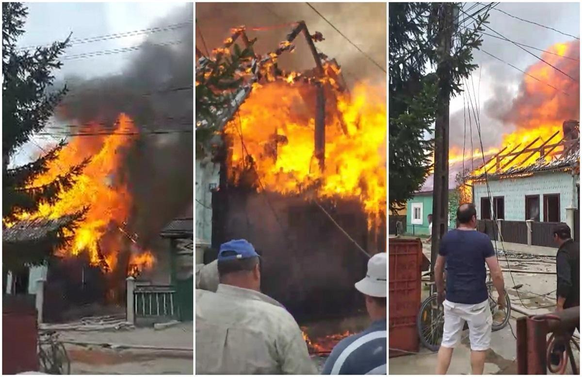 """Incendiu devastator la Suceviţa, ard mai multe case. Intervin pompierii militari de la şapte subunităţi. Localnic: """"Nu fac faţă ăştia"""""""
