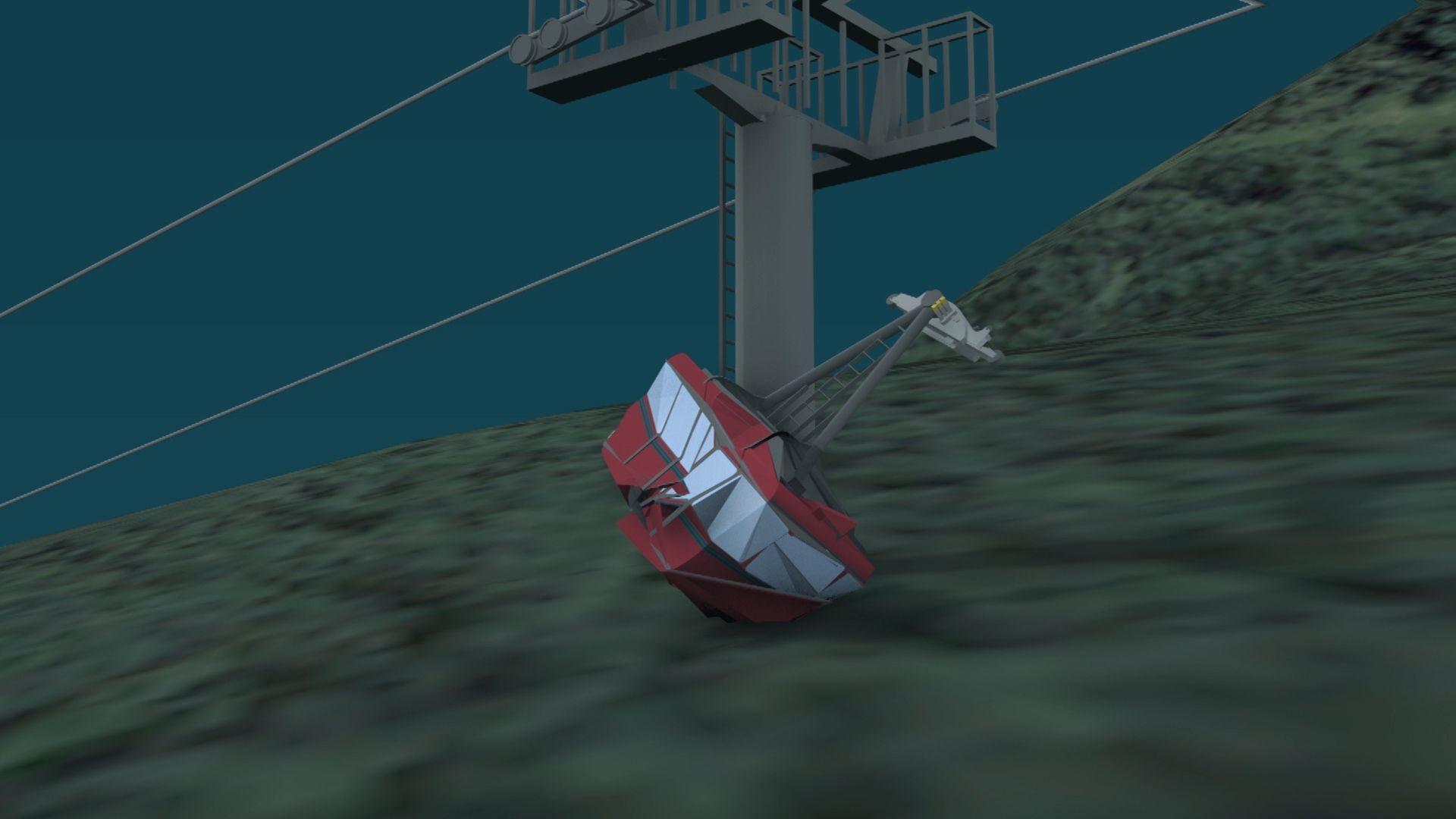ANIMAȚIE GRAFICĂ. Prăbușirea telecabinei din Italia, filmată de camerele de supraveghere. Pasagerii mai aveau 5 metri până la destinație