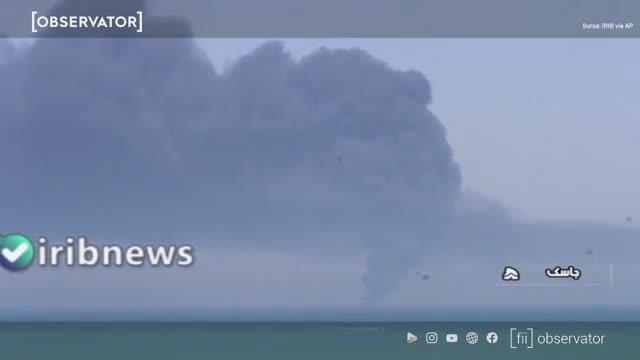 Accident misterios. Cea mai mare navă iraniană de război, Kharg, s-a scufundat în Golful Oman după ce a luat foc. VIDEO