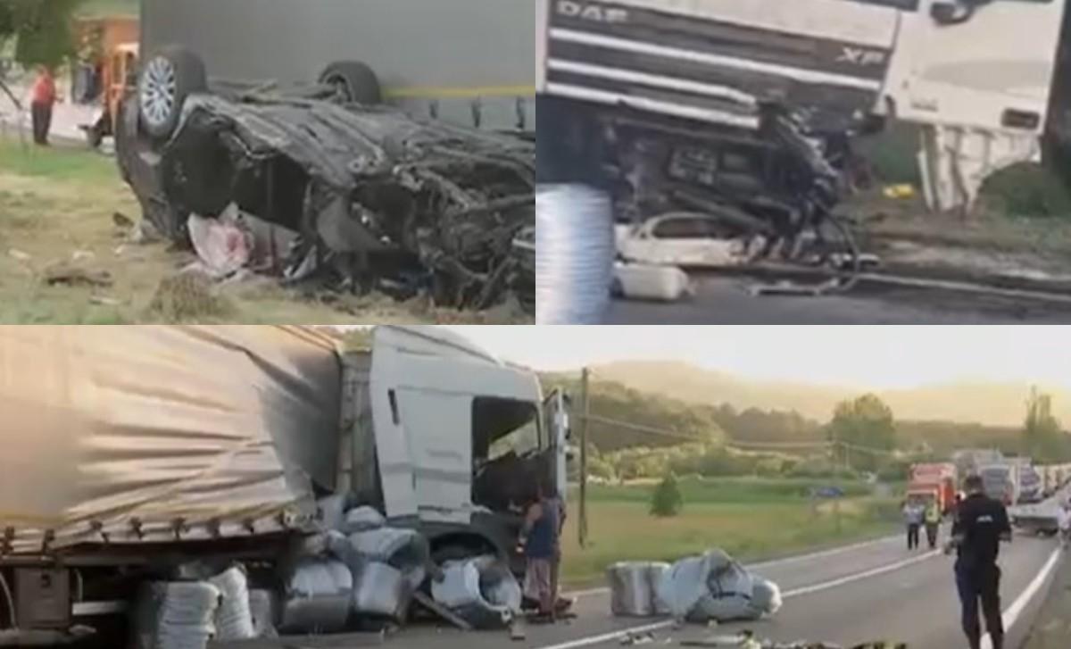 Un copil de 10 ani și-a pierdut sora și părinții într-un accident rutier, în Cluj. Familia se întorcea din Italia, când bărbatul de la volan a intrat inexplicabil într-un TIR