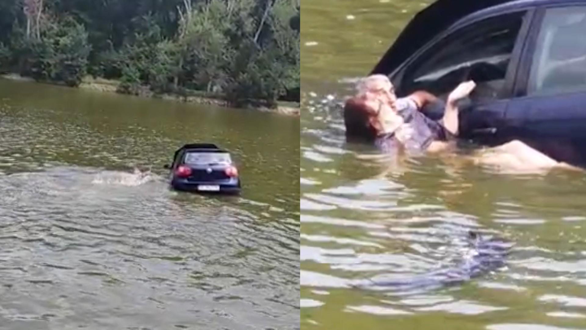 """O şoferiţă băută din Iaşi a aterizat cu maşina în Lacul Ciric. Femeia a fost salvată în ultimul moment de un poliţist. """"A vrut să se sinucidă"""""""