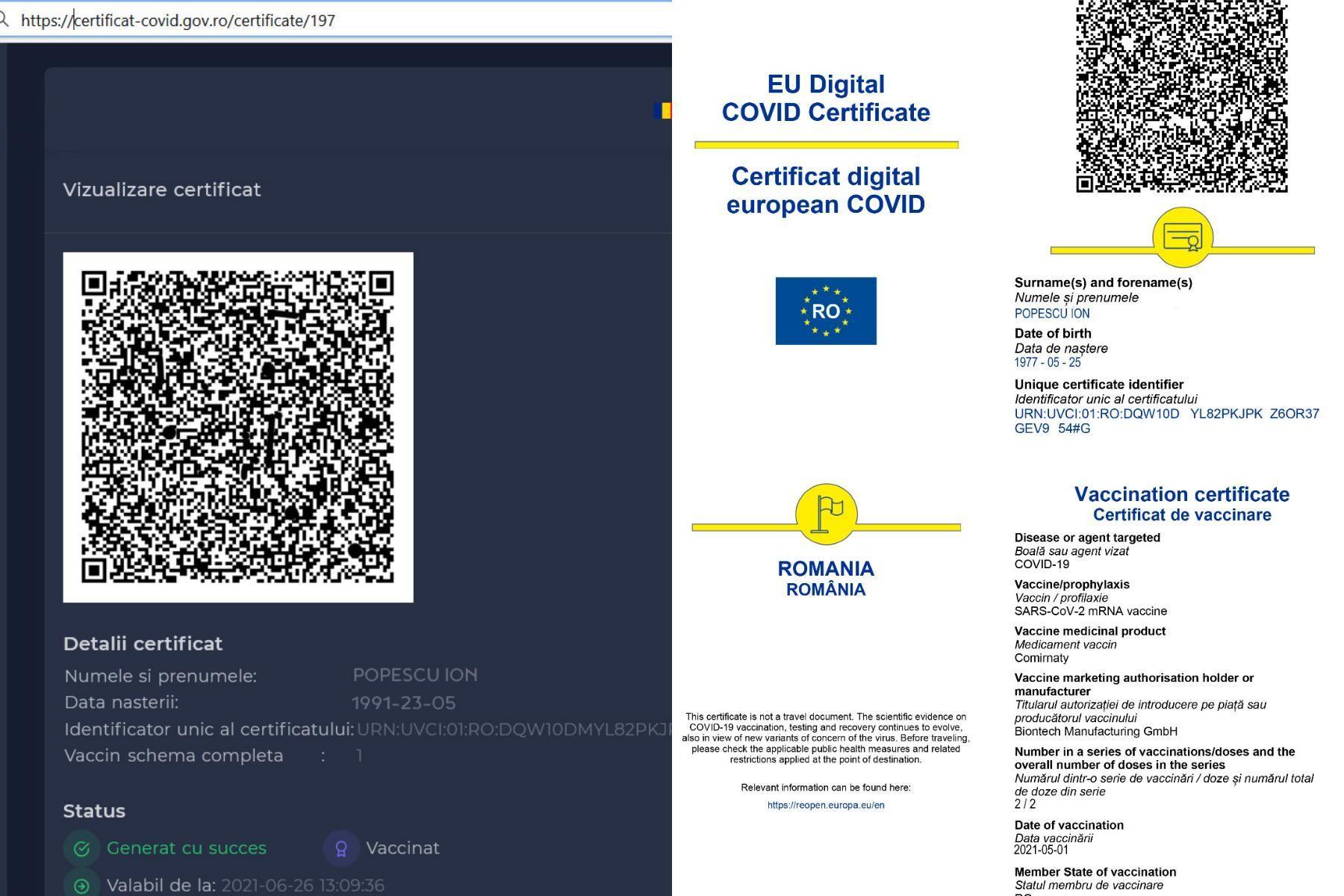 Siteul pentru eliberarea certificatelor COVID, funcțional de mâine. Pașii prin care poate fi descărcat și cât durează obținerea sa