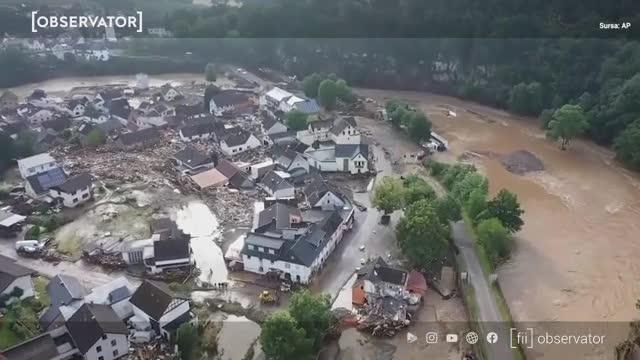 """Inundații devastatoare în Germania: sunt cel puțin 42 de morți. Angela Merkel se declară """"bulversată"""""""