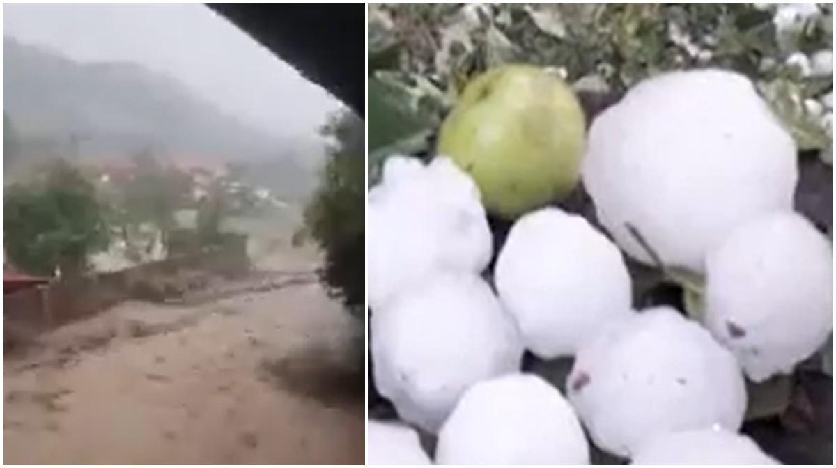Natura dezlănţuită a făcut prăpăd: Grindină de mărimea unui ou, case şi drumuri distruse, maşini luate pe sus de apă