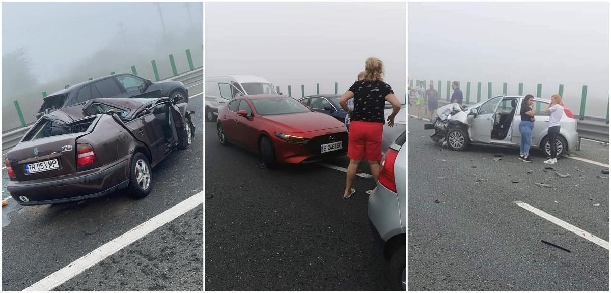 Carambol uriaş, cu peste 50 de maşini, pe Autostrada Soarelui. 155 de persoane implicate, după mai multe accidente în lanţ