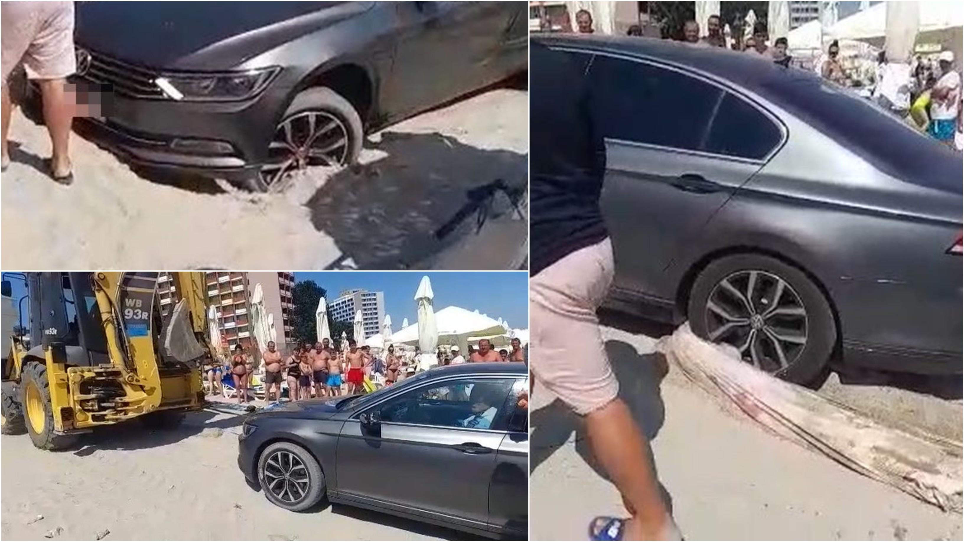 """Şoferul care s-a parcat pe plaja din Saturn a rămas împotmolit. Cum a fost scos din nisip cu excavatorul. """"Cearşaful meu!"""""""