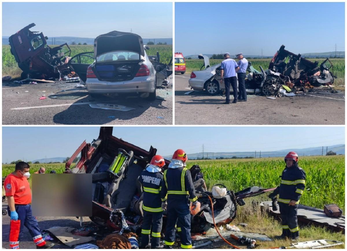 Accident cumplit în Bacău, cu șapte morți, între care doi copii, după ce un autoturism și un microbuz s-au izbit frontal. Alte 5 persoane, rănite
