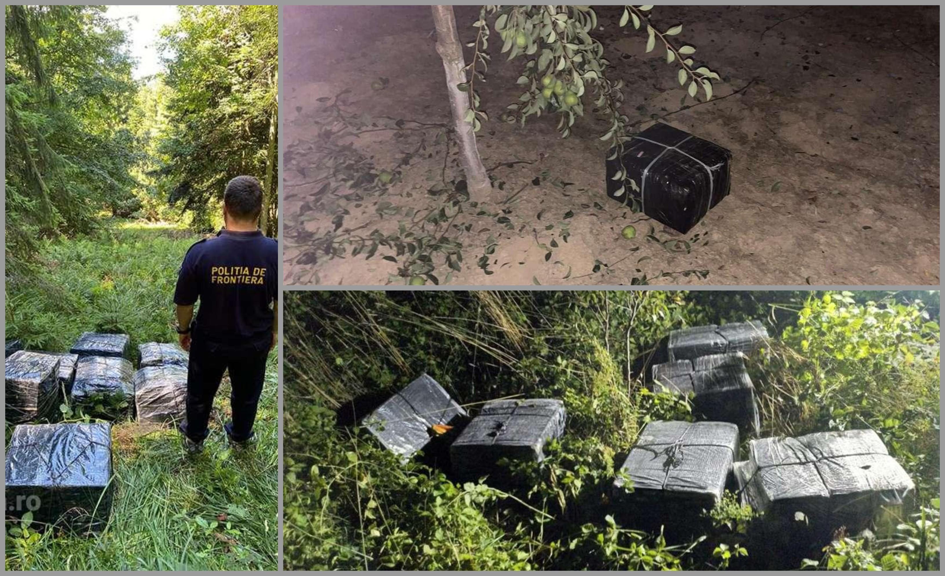 FOTO şi VIDEO. Țigări de contrabandă aduse cu drona din Ucraina şi ascunse într-o livadă din Satu Mare