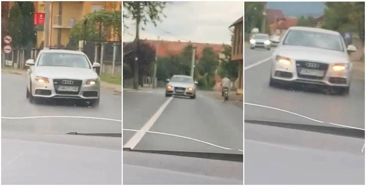 """Șoferul unui Audi stârnește uluire pe un drum din Negrești Oaș, în Satu Mare: """"Ăsta o fumat ceva cred...uite, și cu poliția acolo! E de necrezut"""""""