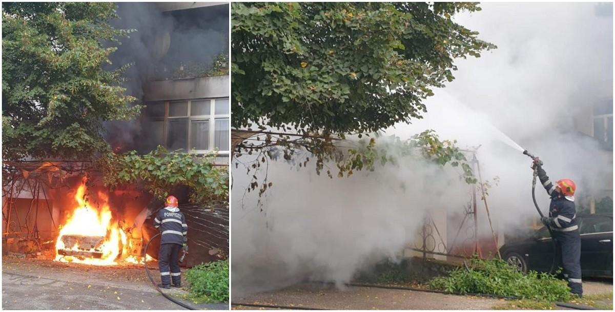 O maşină şi un bloc, înghiţite de flăcări în Satu Mare. Șoferul a suferit arsuri pe mai bine de 20% din suprafaţa corpului